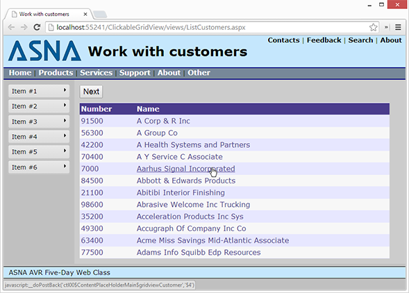 Making multiple columns clickable in the ASP NET GridView | ASNA